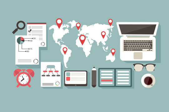 World map. working space. statistics. location