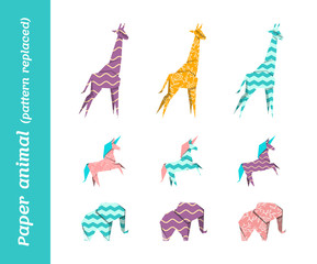 Paper origami vector animals with replaced patterns