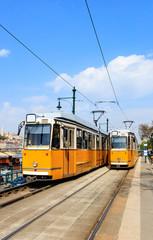 Yellow tram, Budapest Hungary.
