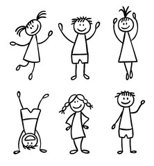 Children hand drawn vector set