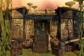 Mushroom Planet. Spaceship and crates.