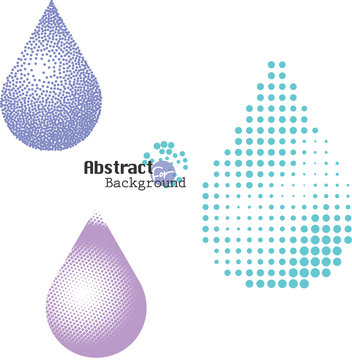 Halftone and stippling water drop icons set, vector illustration