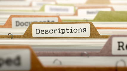 Descriptions Concept on File Label in Multicolor Card Index. Closeup View. Selective Focus. 3D Render.