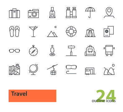 Travel. Set of thin line vector modern icons.