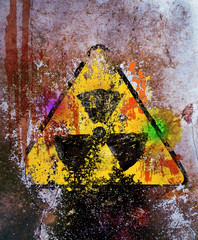 grungy nuclear radiation warning sign, free copy space