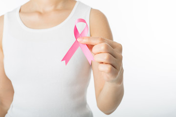 .Pink Breast cancer awareness ribbon holding
