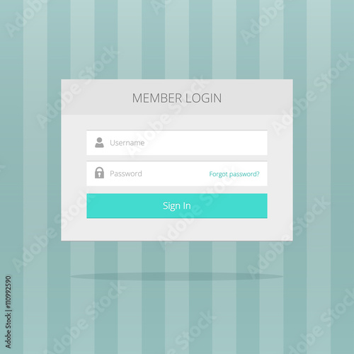 Login box, login form, login ui interface elements, login