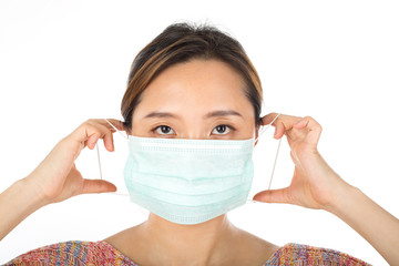 Asian lady wearing pollution mask