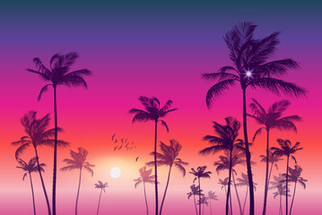 Wall Mural - Exotic tropical palm tree landscape   at sunset or moonlight,  with cloudy sky. Highly detailed  and editable