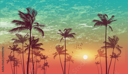 Wall mural Exotic tropical palm tree landscape   at sunset or moonlight,  with cloudy sky. Highly detailed  and editable