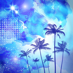 Wall Mural - Exotic tropical palm trees  with fantasy sunset background. Highly detailed  and editable