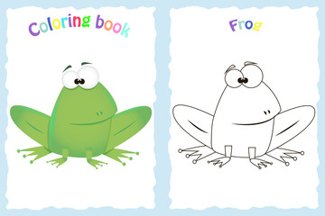 Coloring book page for preschool children with colorful frog and sketch to color