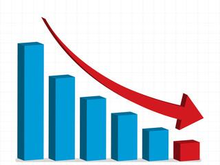business crisis - graph down, vector, eps10