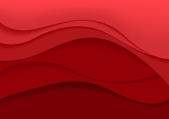 Red Abstract Background with Curves Lines and Shadows - Illustration for Website Design, Booklet and Brochure, Vector