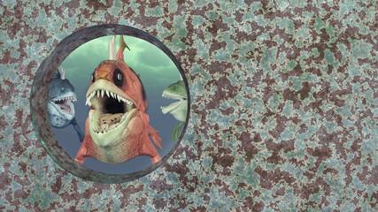 Monströse Fische und Schiffswrack