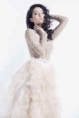 Beautiful woman in a ball gown.