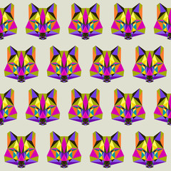 Abstract wolf seamless pattern background