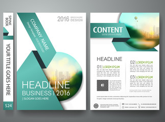 Brochure design template vector. Flyers annual report business magazine poster.Leaflet cover book presentation with abstract green shape and flat city background. Layout in A4 size.illustration.