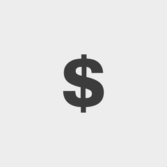 Money Icon dollar in black color. Vector illustration eps10