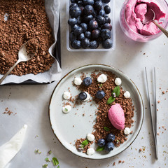 Mixed berry  mousse served on chocolate soil with cream drops, blueberries, lemon balm leaves and thyme flowers. Concept of food plating in modern nordic style.