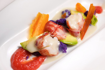 Lobster with sauce and vegetables