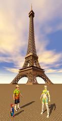Touristen und Reiseführer vor dem Eiffelturm in Paris