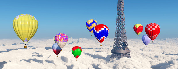 Eiffelturm und Heißluftballone