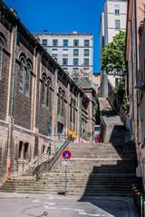 Escaliers à côté de l'église abandonnée du Bon-Pasteur Rue Neyret à la Croix-Rousse