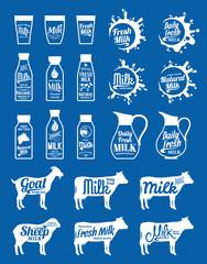 Milk Logo, Icons, Splashes and Design Elements