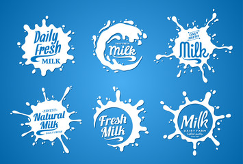 Milk Logo. Milk, Yogurt or Cream Splashes