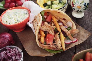 Doner kebab, turkish pita bread sandwich