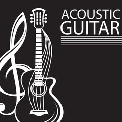 poster with treble clef and guitar on black background