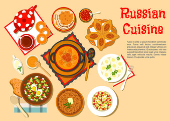 Popular main dishes and dessert of russian cuisine
