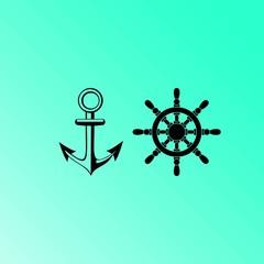 Anchor and rudder vector icon