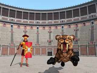 Tierangriff im Kolosseum im antiken Rom