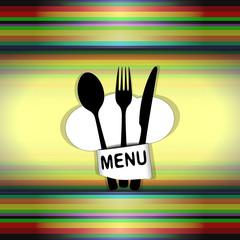 restaurant menu with chef hat line uno
