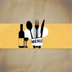 restaurant menu with chef hat line