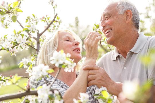 Senior couple enjoying a moment in their blossoming garden.