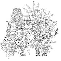 Hand drawn  outline circus elephant doodle