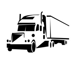 Outline truck vector illustration. Can be use for logo and tatto