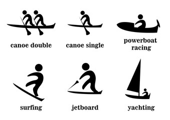 canoe double, canoe single, powerboat racing, surfing, jetboard, yachting, sport icons