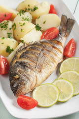 Grilled fish with bolied potato