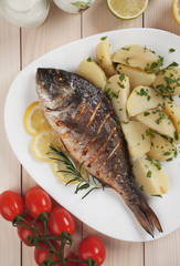 Grilled fish with boiled potato