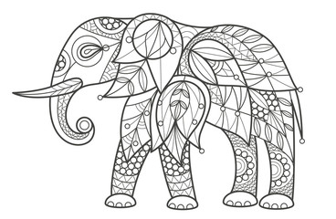 Adult Coloring - elephant.