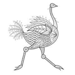 Adult Coloring - ostrich.