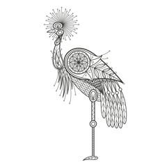 Adult Coloring - bird crane.