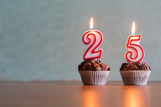 Birthday candles celebrating 25th birthday