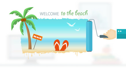Vacation and travel banner with tropical seaside