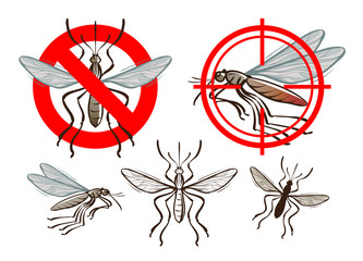mosquito and prohibiting sign. vector illustration
