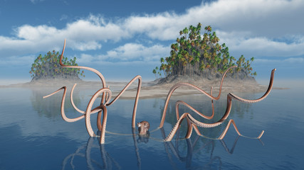 Oktopus vor einer Insel